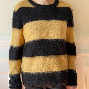 Mohair blend Mens Sweater Tan Black Size M
